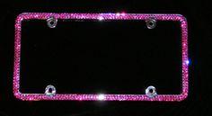 Sassy Auto Frames Bling custom hand made diamond crystals Rhinestone and Swarovski Crystal... FUCSHIA