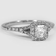 Platinum Harmony Ring // Set with a 0.41 Carat, Radiant, Very Good Cut, E Color, VVS2 Clarity Diamond #BrilliantEarth