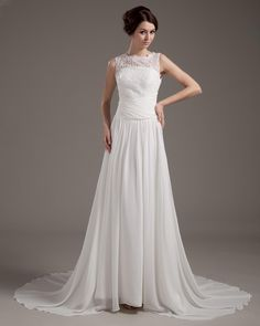 Chiffon Lace Beading Bridal Gown Wedding Dress