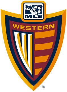 MLS Western Conference Soccer Primary Logo (2002) - Orange W on a red shield with updated MLS logo