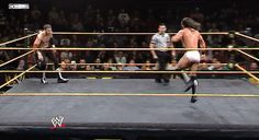 Sami Zayn catches Neville mid-flip and hits a Blue Thunder Bomb.