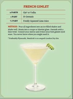 Have you noticed the liqueur St-Germain is on the cocktail menus all over town? Cocktails To Try, Fancy Drinks, Classic Cocktails, Craft Cocktails, Summer Drinks, Whiskey Cocktails, Refreshing Drinks, St Germain Cocktail, Cocktail Menu