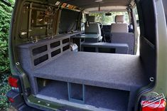 Rear View of the Cabinets and Bed Platform with Storage inside the Campervan T4 Camper, Sprinter Camper, Camper Life, Vw T5, Vw Touran, Volkswagen Beetles, Honda Element Camping, Kangoo Camper, Van Storage