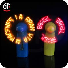 Handheld LED Message Fan display your customized led message or simple logo with gentle breeze. Available led colors: red, blue, green. Battery: 3pcs AAA , they are not included, and can be replaced. 7 led lights  for English message and 11 led lights for other language message. Assorted handle colors available. Packaging: Individual white box. Or customized gift box