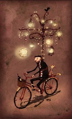Lantern bike... Hungarian artwork.