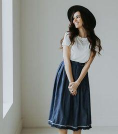 The LaLa Land Embroidered Skirt   Paige Avenue   Knee Length Skirt   Modest Skirt   #skirtstyle #springskirt #denimskirt