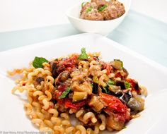 Pasta with Lamb Meatballs and Eggplant Agrodolce Sauce