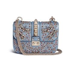 Valentino 'Rockstud Lock' small crystal embellished leather chain bag (16,290 MYR) ❤ liked on Polyvore featuring bags, handbags, blue, blue purse, genuine leather handbags, blue leather purse, leather flower purse and flower purse