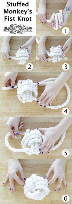 Rope Ball Surprise Dog Toy DIY at Hands Occupied - like this large view for making the knot...