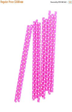 SALE CLOSEOUT SALE Bright Pink/Magenta Small Polka Dot Straws 15 Count