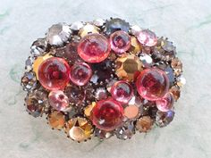 Vintage Made in Austria oval brooch with pink and red glass bubbles AB835 by MeyankeeGliterz on Etsy