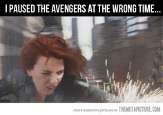 No, you paused at exactly the right time. This is fabulous! Natasha Romanov: she's beauty, she's grace, she'll punch you in the face with this expression on her face