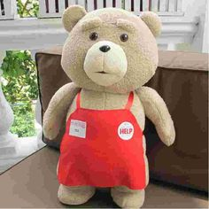 Teddy Bear Ted 2 Plush Toys In Apron 45CM Soft Stuffed Animals Ted Bear Plush Dolls