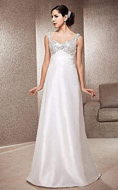 A-line Sweetheart Floor-length Sequined Satin Wedding Dress – USD $ 179.99