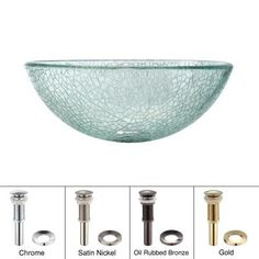 KRAUS Glass Vessel Sink In Broken With Pop Up Drain And Mounting Ring In  Satin Nickel