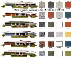 great exterior paint colors with brown roof | ... paint colors for ranch homes these approved mid century paint color