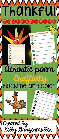 Adorable Acrostic Poem craftivity for students to write what they are thankful for this Thanksgiving. This product will make a festive bulletin board or hallway display that students will be excited about! Meets common core standards and can used as a writing center activity or whole group instruction :)