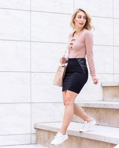 Tucked T with interesting details, high waisted pencil skirt and cute sneakers.