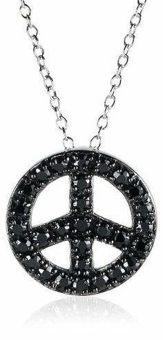 """Sterling Silver Black Simulated Diamond Peace-Sign Pendant, 18"""" Amazon Curated Collection,"""