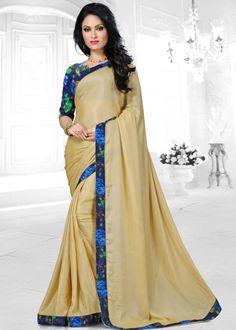 Beige chiffon plain saree with matching blouse