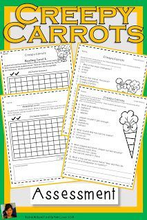 Creepy Carrots Activities will help students understand plot with comprehension questions, games, vocabulary, grammar, fluency, phonics, comprehension strategies, sequencing, writing, and a comprehension test with answer key! Creepy Carrots Activities is great for guided reading or whole group! Guided Reading Table, Text To World, Text To Text, Nouns And Verbs, Vocabulary Cards, Comprehension Strategies, Sight Words, Classroom Activities, First Grade