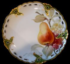 "German Set of 6 Reticulated Exceptional Artist Painted Fruit Plates 8.25"" c 1900"