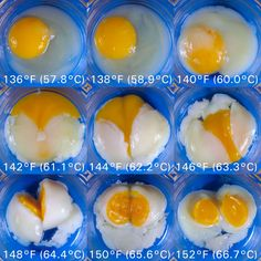 food #science.  #eggs cooked for the same amount of time at slightly different temperatures.