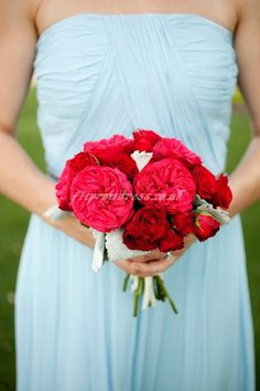 bridesmaid dress bridesmaid dresses - like the contrast of the soft blue to the deep red bouquet
