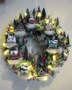 Putz house wreath