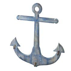 Distressed Nautical Blue Anchor Wall Hook Coat Hanger - 3 Hooks Midwest-CBK