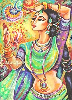 Indian Dance, Dancing Indian Woman, Indian Painting, Bollywood, Indian Art, Wall Decor - Art Print