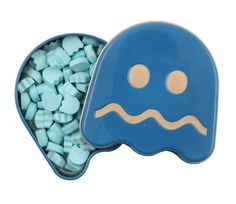 Blue raspberry flavoured sours in a collectible Turned Blue ghost tin.