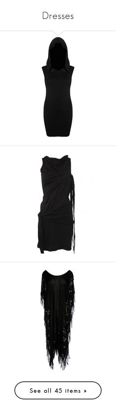 """""""Dresses"""" by vonkirsche ❤ liked on Polyvore featuring dresses, short dresses, long hooded dress, long sleeve dress, sleeved dresses, short sleeve dress, long bodycon dress, short dress, tie dress and sleeveless short dress"""