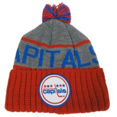 """Washington Capitals Mitchell & Ness NHL """"The High 5"""" Vintage Cuffed Knit Hat w/ Pom by Mitchell & Ness. $24.00. Mitchell & Ness wordmark embroidered on back. 100% acrylic winter beanie cap. Jacquered team name. Team logo patch on cuff. Multi-colored pom"""
