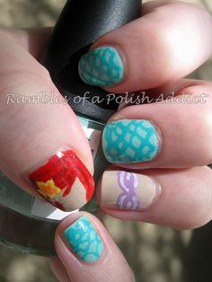 Rambles of a Polish Addict: disney nail art challenge day 17: Ariel