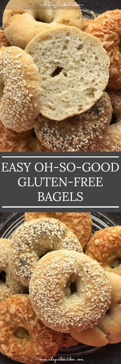 These Easy Oh-So-Good Gluten-Free Bagels come together in less than an hour require no boiling and are so good you won't even notice that there's no gluten! They ridiculously easy soft and chewy.you'll love making them! Gluten Free Diet, Foods With Gluten, Gluten Free Cooking, No Gluten, Gluten Free Breads, Gluten Free Meatloaf, Gluten Free Biscuits, Paleo Diet, Gf Recipes