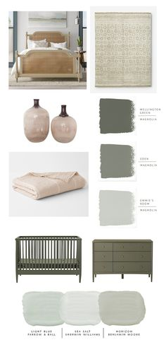 greens and blush pink - bedroom design - IHOD