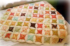 Designer Fabric Baby Quilt Breakfast by emshandmadelovelies Cathedral Window Patchwork, Cathedral Quilt, Cathedral Windows, Vintage Quilts Patterns, Quilt Patterns, Quilting Projects, Sewing Projects, Quilting Ideas, Quilting Designs