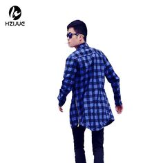 HZIJUE hba men streetwear shirts side zipper plaid Pockets hip hop flannel brand Tyga Camisetas masculinas tartan man clothes