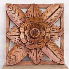 Balinese Traditional LOTUS REFIEL WOOD Panel wooden carving Bali Wall Art