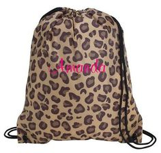 Personalized Drawstring Cinch Sac Backpack Tote Bag Beach Cheer Dance Leopard | eBay...Bought one for each of the girls...Pink for Arianna, Purple for Sophie, and Red for Quinn on the lettering! Cheer Backpack, Tote Backpack, Drawstring Backpack, Tote Bag, Cheer Dance, Pink Girl, Childrens Books, Bag Accessories, Backpacks