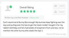 Great to see new reviews!! #Bunnies everywhere love #BunnyBox Treat your #bunny today >