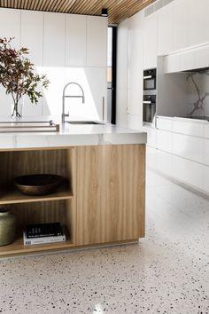 Terrazzo inspiration via Golden & Pine Modern Kitchen Cabinets, Kitchen Interior, New Kitchen, Kitchen Decor, Colourful Kitchen Tiles, Kitchen Wall Colors, Best Flooring For Kitchen, Kitchen Floor Tiles, Terrazo