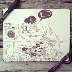#76 Low Battery #art #drawing #illustration #design #moleskine #doodle #sketchbook #sketch #ink #traditional #artwork #anime #manga #cute #sleep #social #media #app #twitter #instagram #Facebook #black #cat #artist #_picolo