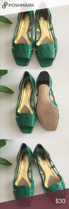 Ros Hommerson Green Patent Flat Sandals size 8 Ron Hommerson green patent flat sandals. In great condition and an amazing shade of green! Cute with cropped jeans.. Ros Hommerson Shoes Flats & Loafers