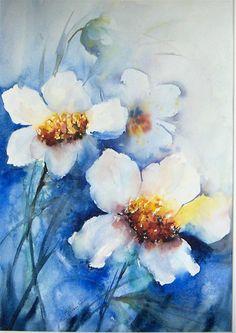 aquarelles fleurs blanches - Recherche Google