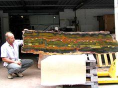 Massive block of Marra Mamba Tiger's Eye. Found by Glenn Archer (pictured left) in Western Australia.