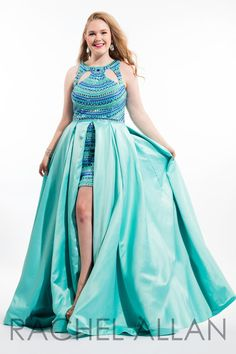 Rachel Allan Curves 7408 is a sleeveless matte satin high-low plus size prom gown with multicolor beading on bodice and flowing overskirt.