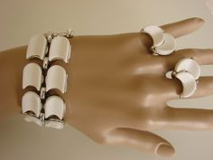 LISNER White Thermoset Demi Parure Bracelet & Earrings by joysshop, $26.95