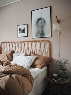 pink, tan, white tonal bedroom - A mix of mid-century modern, bohemian, and industrial interior style. Home and apartment decor, decoration ideas, home design, bedroom, living room, dining room, kitchen, bathroom, office, simple, modern, contemporary, boho, bohemian, beach style, industrial, rustic, DIY project inspiration, furniture, bed, table, chair, architecture, building, interior, exterior, lighting